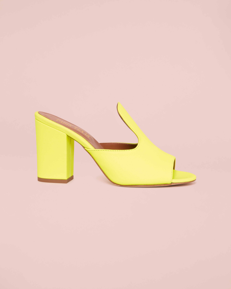 FLUO LEATHER MULES
