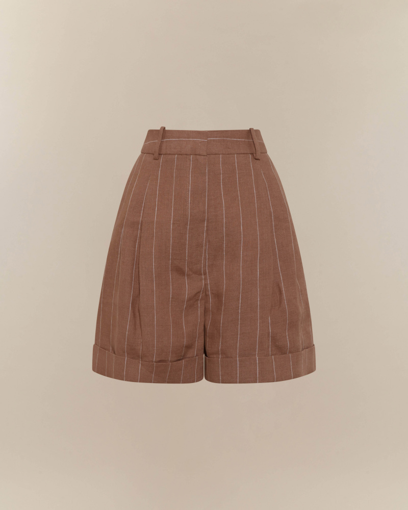 PINSTRIPED PATTERN SHORTS
