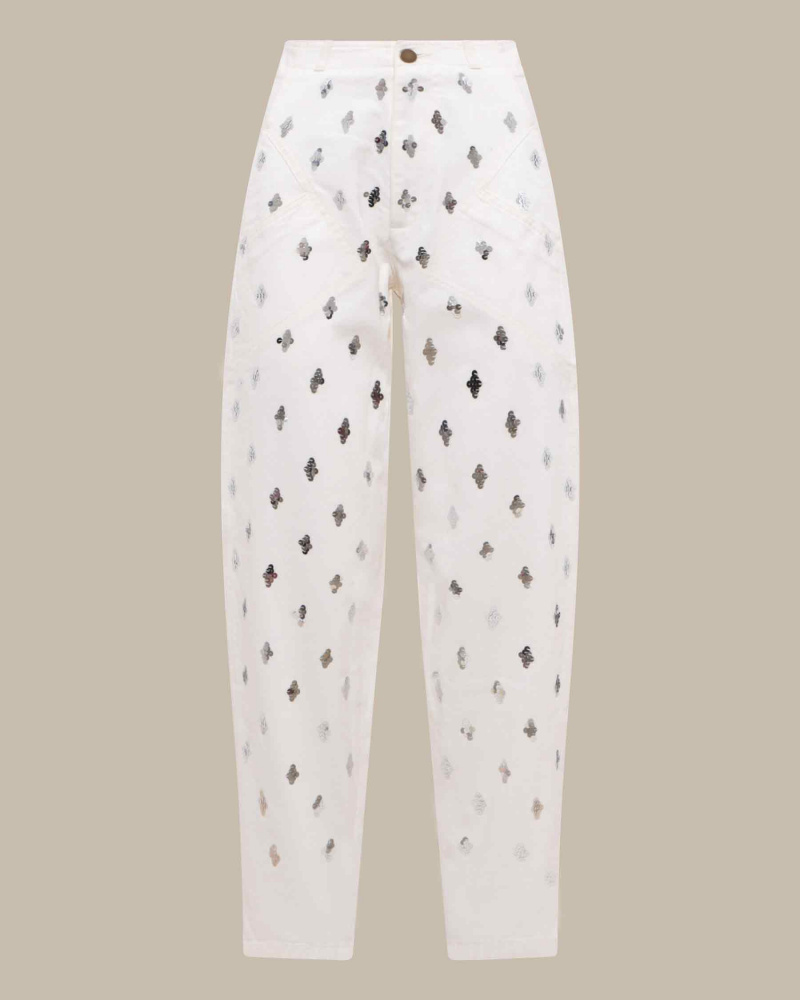 sequin embroidered jeans
