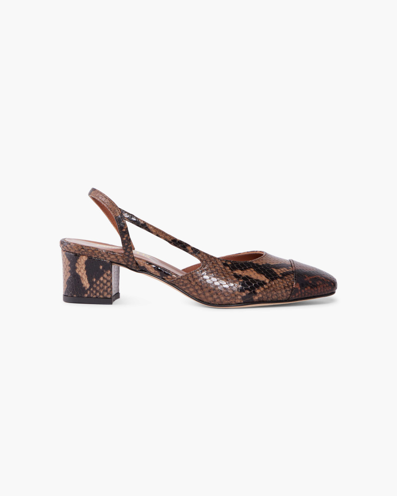 SNAKE EMBOSSED SLINGBACKS