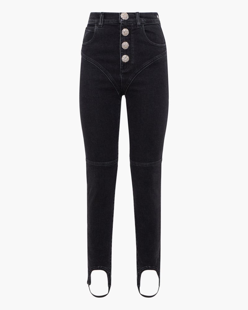 CRYSTAL BUTTONS SKINNY JEANS