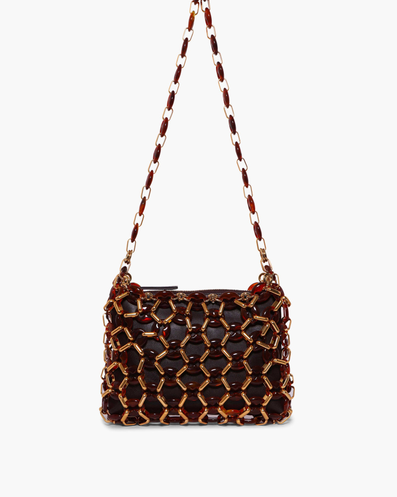 LEATHER BAG WITH RESIN NET