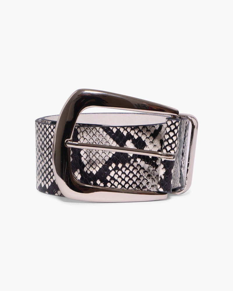 SNAKE PRINT LEATHER BELT