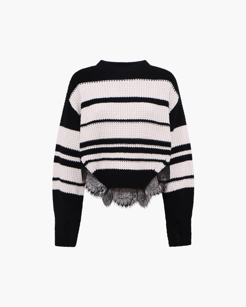 STRIPED SWEATER WITH LACE