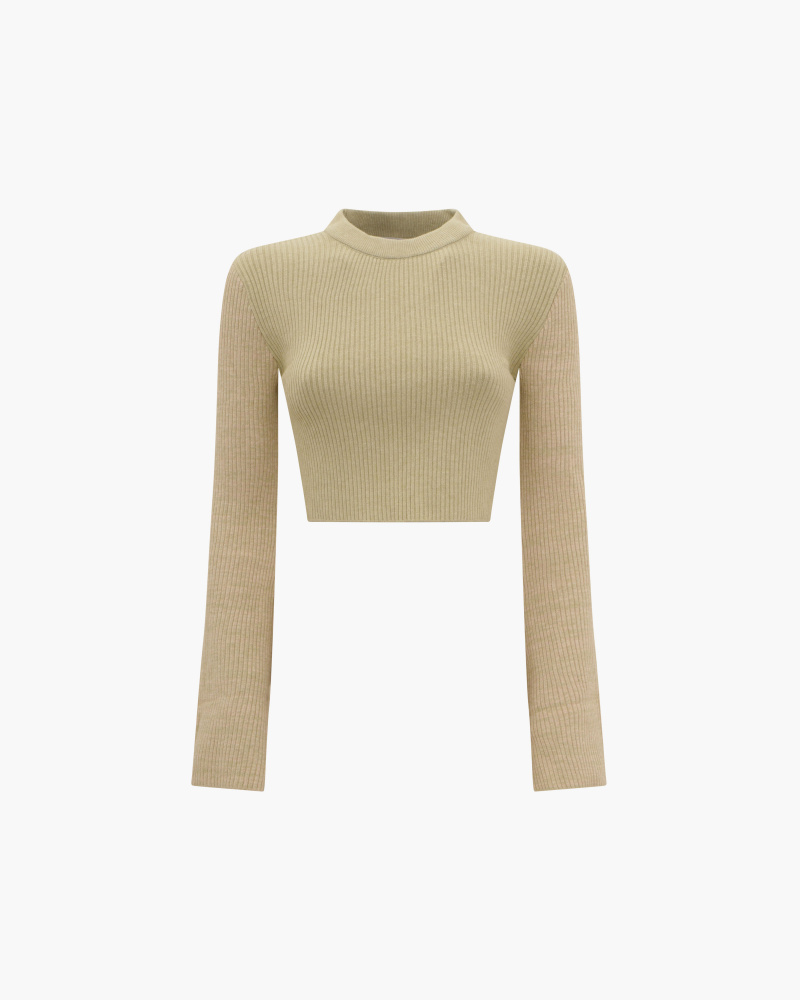 CROP SWEATER WITH FLARED...