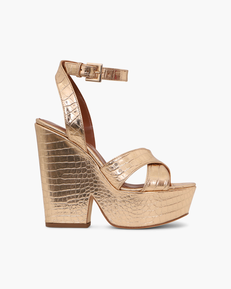 MOC CROC SANDALS WITH WEDGE