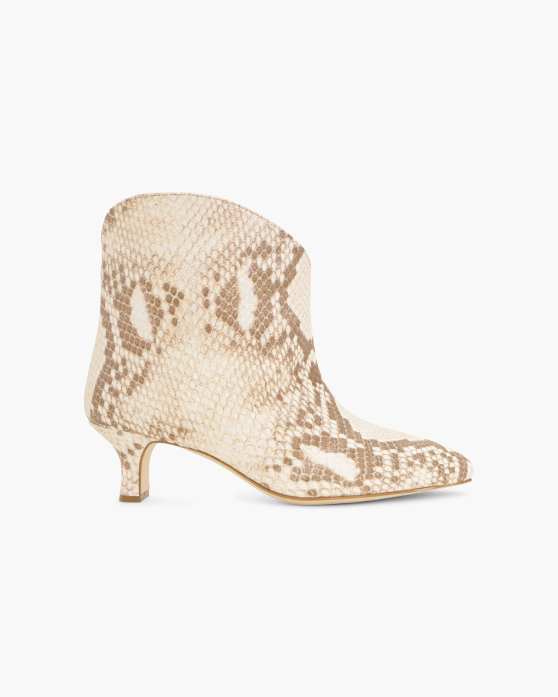 SNAKE EMBOOSSED ANKLE BOOTIES