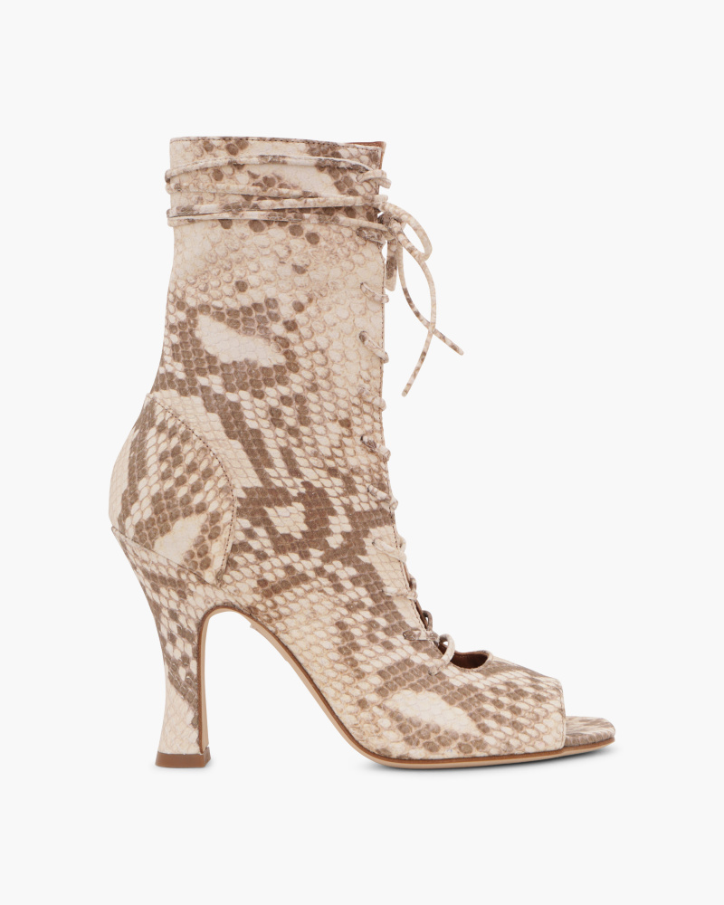 SNAKE EMBOSSED ANKLE BOOTIES