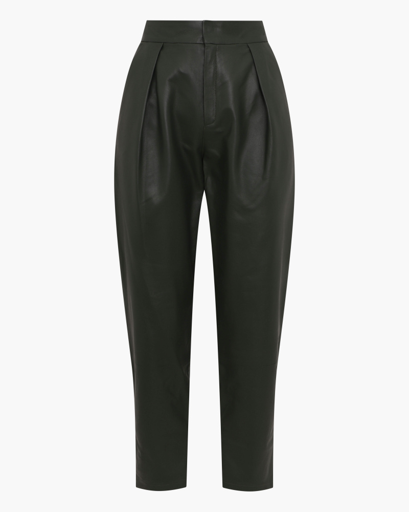 TAPERED LEATHER TROUSERS