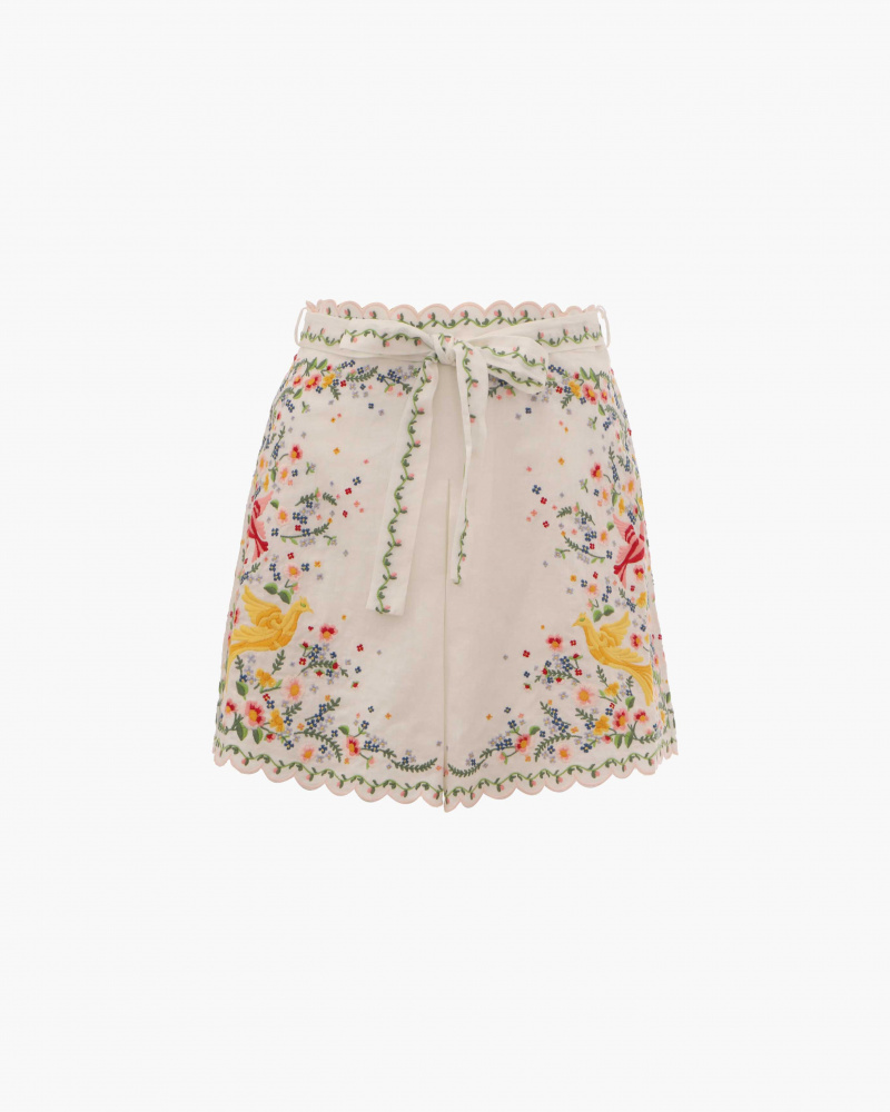 SHORTS IN LINO CON RICAMI