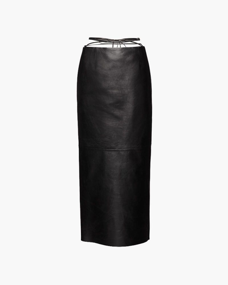 STRAPPY LEATHER MIDI SKIRT