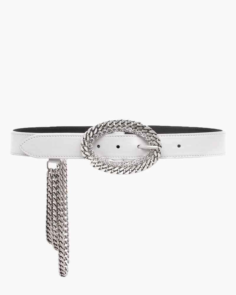 LEATHER BELT WITH CRYSTAL...