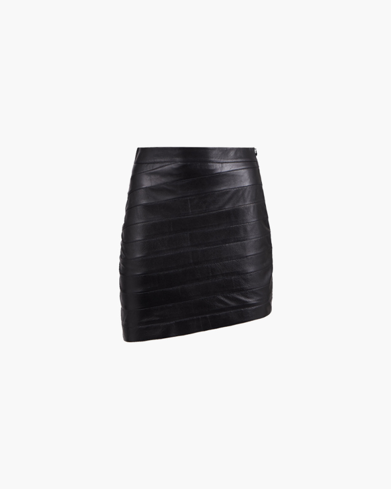 LAYERED MINI LEATHER SKIRT