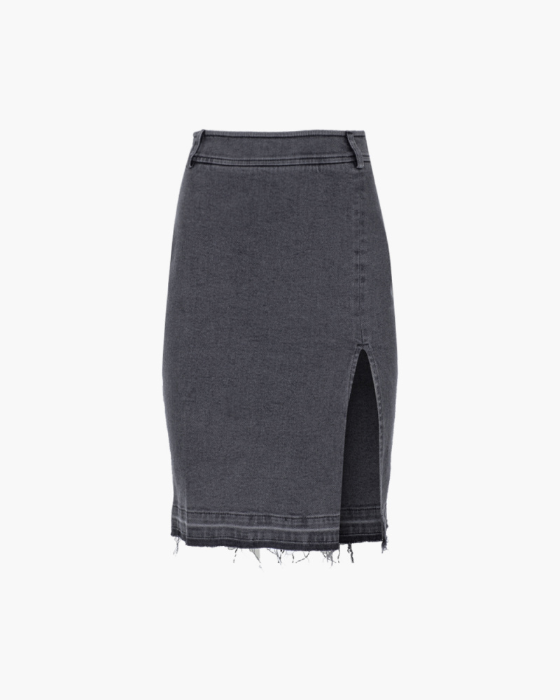 STRECH DENIM SLIT SKIRT