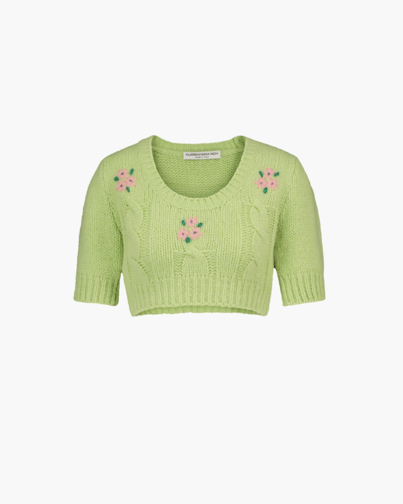 EMBELLISHED MOHAIR CROPPED TOP