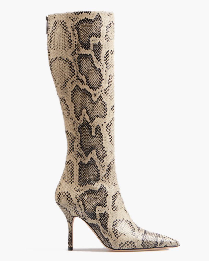 SNAKE EMBOSSED MAMA BOOTS