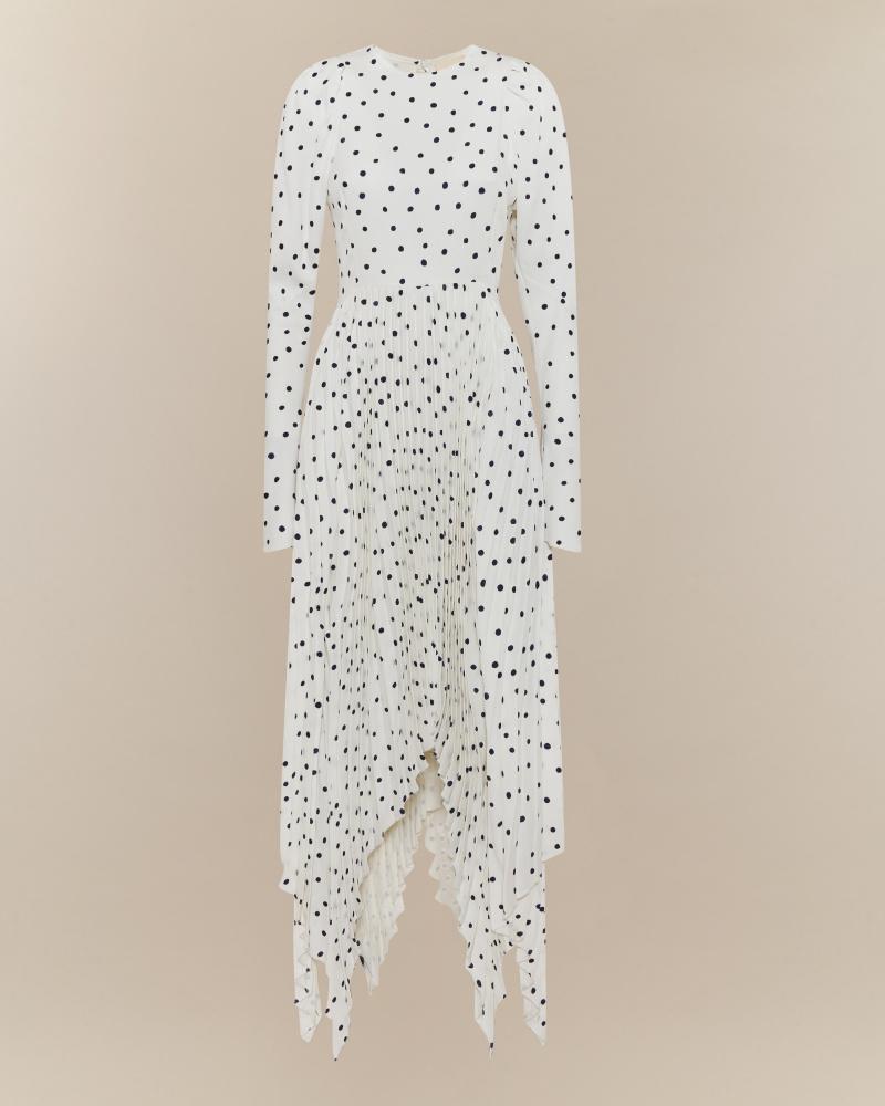 asymmetric POLKA DOTS DRESS