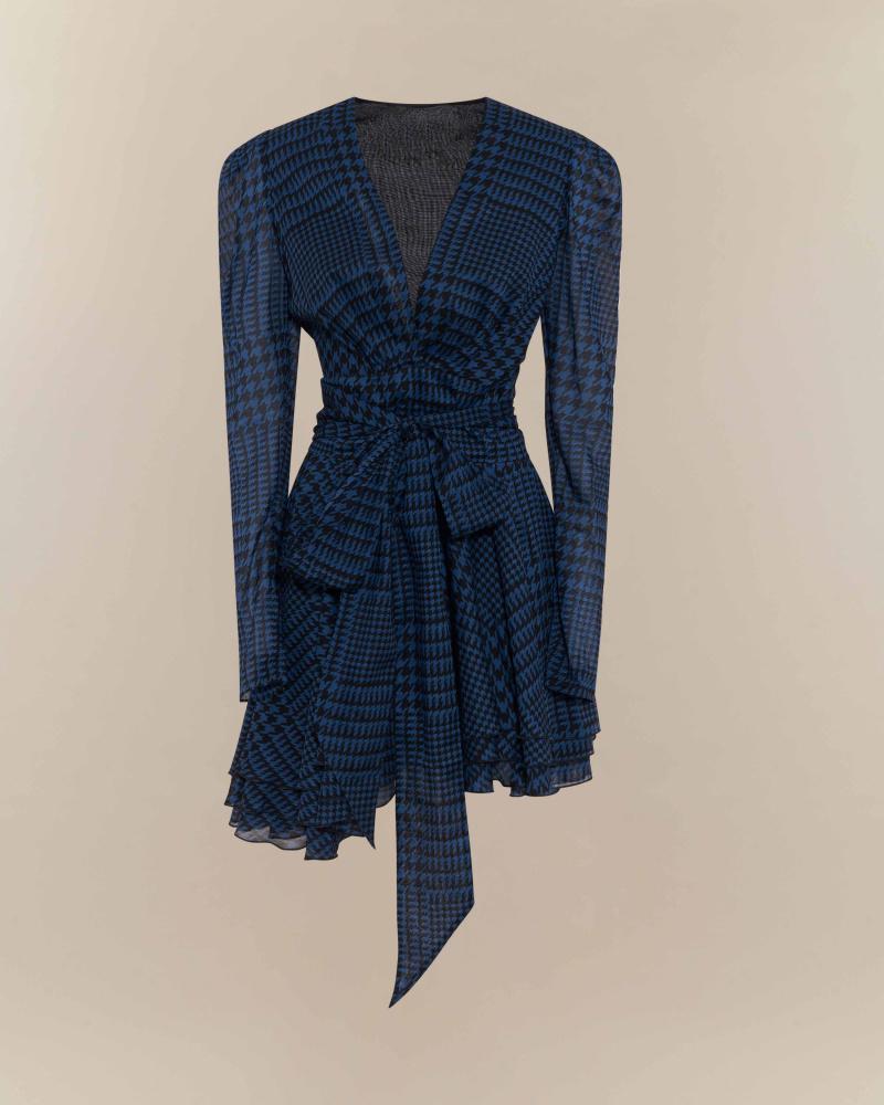 Houndstooth print mini dress