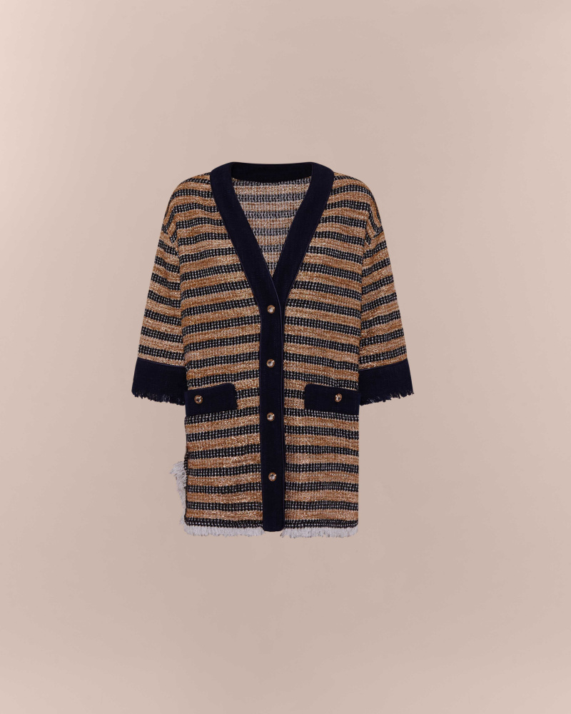 STRIPED TWEED CARDIGAN