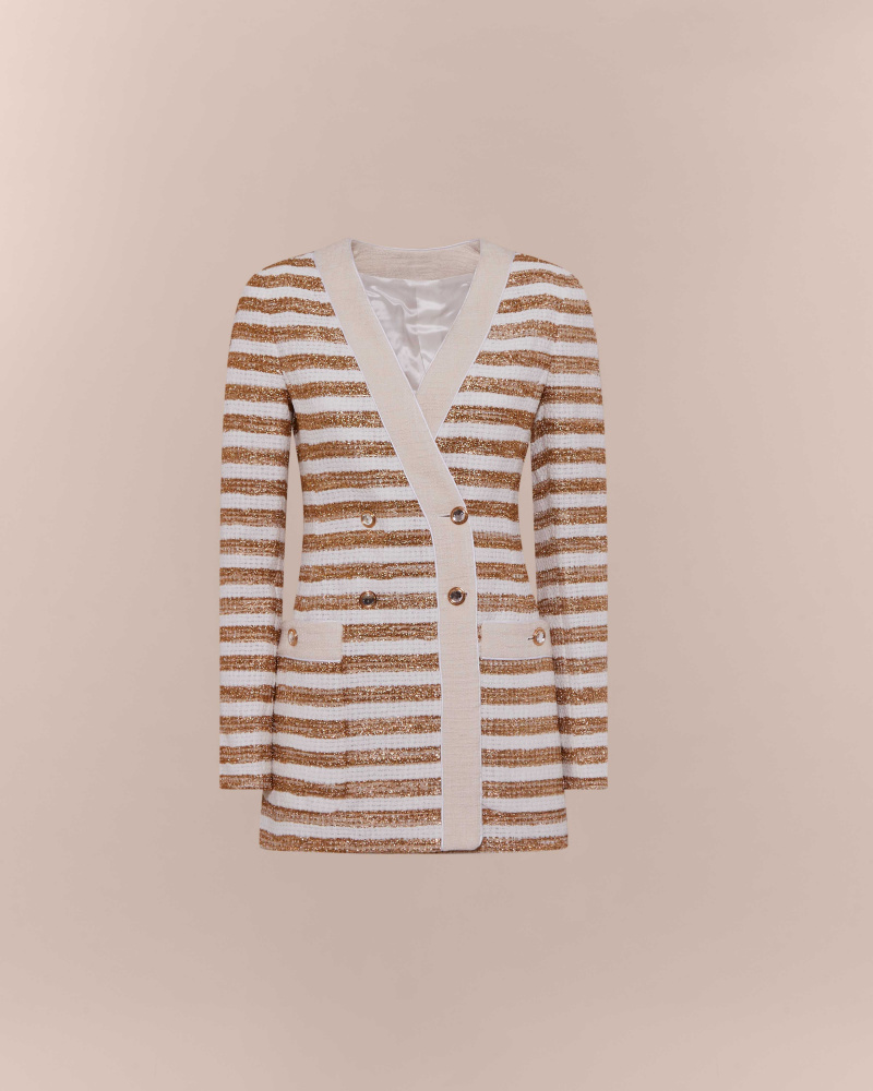 STRIPED TWEED DOUBLE...