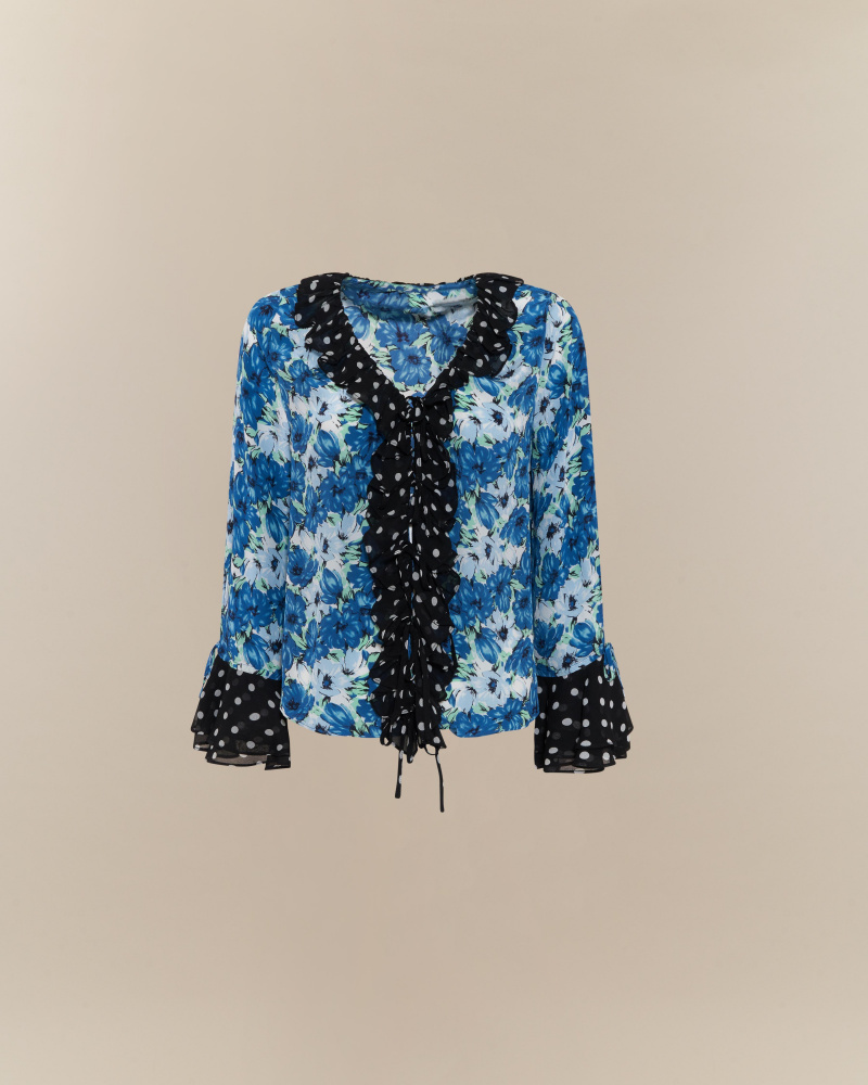 BLUSA CON STAMPE MIXATE