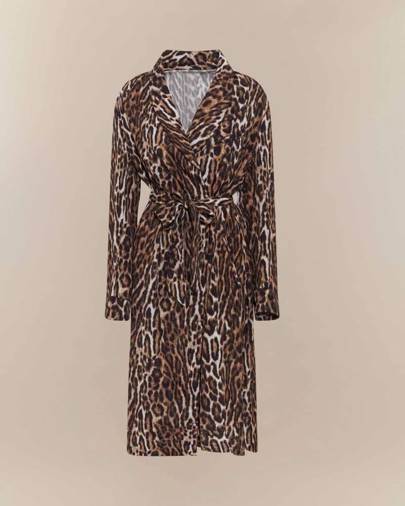 LEOPARD PRINT WRAP MIDI DRESS