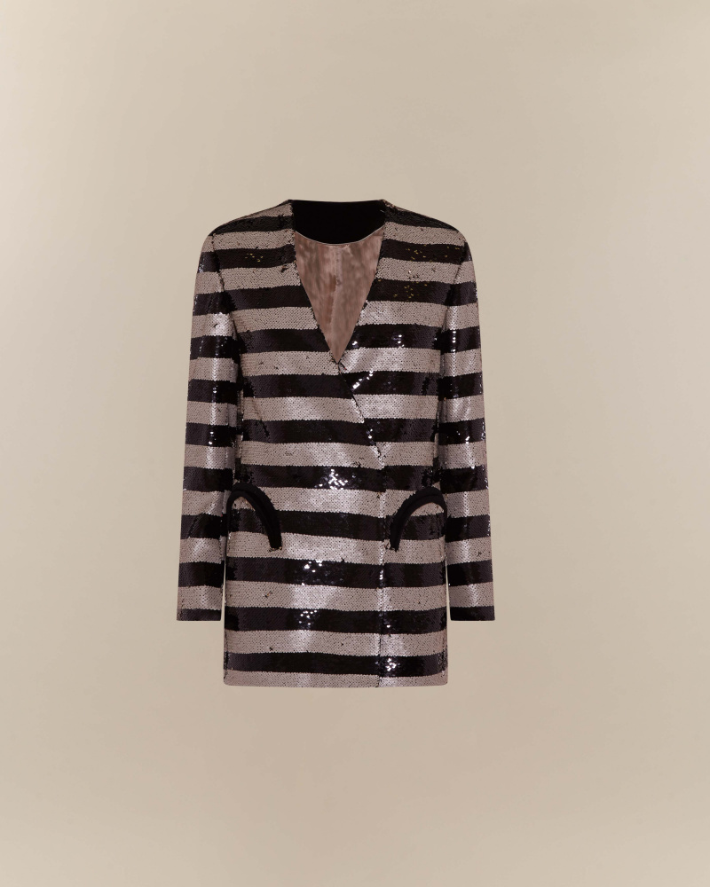 SEQUIN STRIPES BLAZER