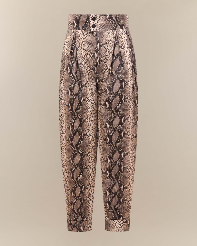 Pantaloni con stampa pitone
